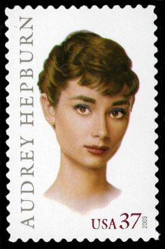 Postal Service issued a Audrey Hepburn commemorative stamp on June in Los Angeles, California. The stamp was designed by Michael J. Deas, Brooklyn Heights, New York, as the ninth stamp in the Legends of Hollywood Series. Commemorative Stamps, Audrey Hepburn Style, Postage Stamp Art, Vintage Stamps, Star Wars, Tampons, Stamp Collecting, Movie Stars, Album