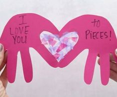 This I Love You to Pieces Craft with heart suncatcher is easy and can be made into a card! Perfect for Valentine's Day or Mother's Day. Love You To Pieces, I Love You, My Love, Valentines Day, Crafts For Kids, Paper Crafts, Craft Ideas, Cards, My Boo