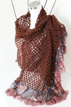 Maroon Shawl Extra Large Shawl Perforated wool by Nazcolleccolors