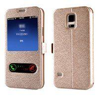 Bestpriceam® Window Pu Leather Flip Case Cover Skin for Samsung Galaxy S5 G900 I9600 (Gold)