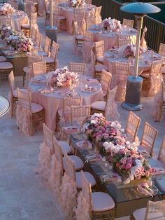 Destination Wedding Venues in pink and white. Gorgeous decor, mixing table sizes, floral, ruffles, terrace venue. It's all about you says PJ. Accepting exclusive couples, 503-260-0557  www.destinationweddings.travel #allcouplesallowed