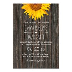 Wood Wedding Invitations Rustic Dark Wood Background Sunflower Wedding Card