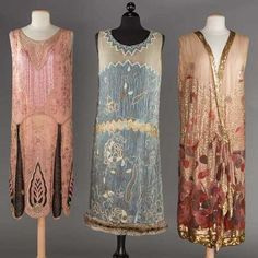 THREE BEADED FLAPPER DRESSES 1 pink crepe w/ pink & black bugle beads; 1 leaf printed pale pink chiffon w/ gold sequins 20s Dresses, Vintage Dresses, Vintage Outfits, Flapper Dresses, Vintage Clothing, Vintage Hats, Maxi Dresses, Dresses Online, 20s Fashion