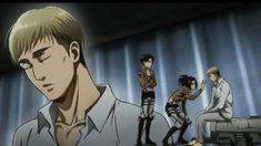 Levi Erwin and Hanji // attack on titan Hanji Attack On Titan, Attack On Titan Series, Hanji And Levi, Levi And Erwin, Levi Funny, Levi X Petra, Rivamika, Eruri, Cute Anime Boy