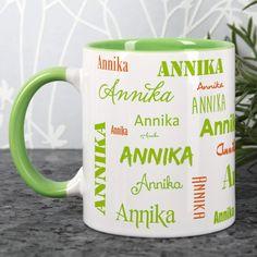 Tasse mit hellgrünem Rand und Ihrem Namen bedruckt