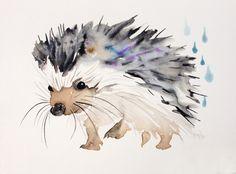 Happy hedgehog, Watercolor painting by Kristina Brozicevic | Artfinder