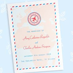Travel Ticket travel themed order of service or events - The Leaf Press Stationery Items, Wedding Stationery, Wedding Events, Wedding Day, Travel Tickets, Ticket Design, Pressed Leaves, Map Background, Order Of Service