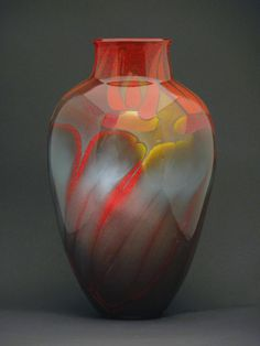 """Fire Series Roman Vase"" Art Glass Vase Created by Steven Main"