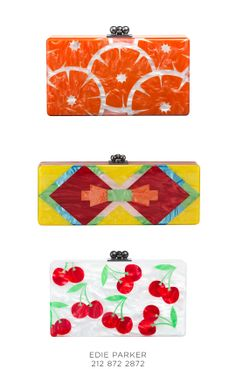 Bold colors and fun prints make these Edie Parker clutches perfect for Spring, 212 872 2872