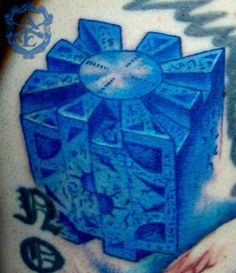 Hellraiser Puzzle Box Tattoo done by Sean Ambrose at Arrows and Embers Custom Tattooing
