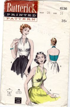"""Vintage Glam Marilyn Monroe 1950s Butterick 6136 Bombshell Pinup Halter Top Blouse Empire Midriff Sewing Pattern Bust 34"""" Factory Folded by bizzielizzies on Etsy"""