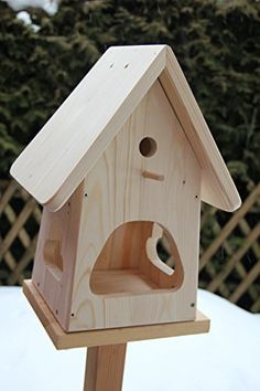 Decorative nesting box -with bird feeder house to self-build kit birdh . Wood Bird Feeder, Garden Bird Feeders, Bird House Feeder, Rustic Crafts, Wood Crafts, Platform Bird Feeder, Wood Projects, Woodworking Projects, Bird Houses Diy