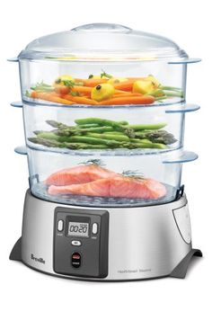 Breville Health Smart Steamer - being a student, sometimes we can be very unhealthy - with junk food, what's fast and pizza! With this steamer, I could make more vegetables and be healthy Cooking Gadgets, Cooking Tools, Kitchen Gadgets, Kitchen Appliances, Kitchen Stuff, Kitchen Tools, Small Appliances, Kid Cooking, Cooking Fish
