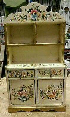 Vintage Antique Miniature Painted Cuboard Furniture Kitchen Old Tole Painted Hand Painted Furniture, Doll Furniture, Dollhouse Furniture, Shabby Chic Furniture, Antique Furniture, Kitchen Furniture, Painting Furniture, Tole Painting, Miniature Furniture