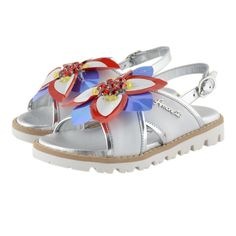 Kids Cavern - Simonetta White & Silver Flower Sandals - Armani Junior, D&G, Childrens Clothing, Designer clothes, fashion, Kids Cavern, D and G, Kids Clothing