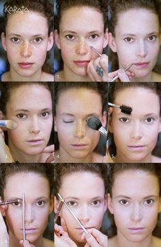 HAPEN  1. Gebruik de lichtste tinten van de Colour Correction onder de ogen en rondom de neus om deze plekken op lichten. Gebruik hiervoor Karaja penseel nr.3. Werk van de buitenste ooghoeken in een driehoek naar de neus  2. Zet ook de lipcontour aan met een lichte tint van de Colour Emotion  3. Gebruik drie tinten Skin Velvet. De lichtste tint breng je aan op de t-zone van het gezicht. Doe dit met Karaja penseel nr.15. De donkere tint breng je aan onder de junkbeenderen, op de kaaklijn en…