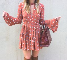 Floral Dress & OTK Boots // Fall Outfit // LivvyLand