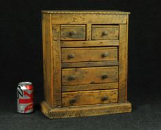 .ANTIQUE 5 DRAWER WOODEN SPICE CABINET / APOTHECARY CABINET / SIGNED