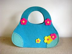 Vintage felted Bag Turquoise floral handbag Young Girl's Purse Childs Kids felt bag felt purse Turquoise handbag with flowers Handmade#s89