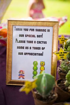 Mario cactus favors! love everything about this :) what a clever favor.