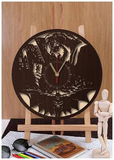 Hi, Everyone! For sale is a clock made from HDF plywood. I have many other designs, please check my listings. This clock has an interesting construction. It consists of two parts - the front part and the background part. Such structure gives a great volume to this design. The front part of the clock puts nice shadows on its background producing an interesting effect. Such clock looks really great on a wall. It could be a great idea for decorating your living space. Measures: 30 cm or 12…