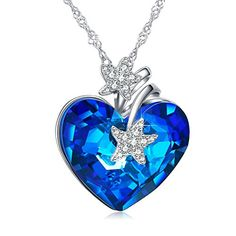 a48cbf27e78f ANCREU Heart Ocean Necklace Love Heart Pendant Necklaces for Women Made  with Swarovski Crystals (Starfish