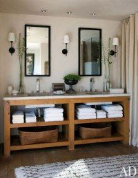 Timber and stone bathroom storage bench. I love how everyday items are open and accessible!