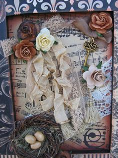 Shabby Frame With Vintage Lace Music And Nest-frame,music,paper,vintage,lace,nest,shabby,chic,cottage,scrapbooking,roses,key,fringe,romantic,beads,ribbons