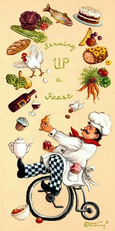 Whimsical Chef Serving Up a Feast by Janet Kruskamp - Original paintings for sale by the artist Chef Kitchen Decor, Kitchen Art, Chef Pictures, Original Paintings For Sale, Spirited Art, Wine Art, Le Chef, Decoupage Paper, Stretched Canvas Prints