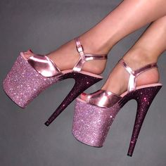 Rose Gold - White Diamond with Rose Gold Straps Glitter Heels Pink High Heels, Platform High Heels, Sexy High Heels, Rose Gold Shoes, Aesthetic Shoes, Aesthetic People, Aesthetic Fashion, Stripper Heels, Glitter Heels