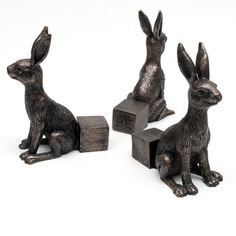Antique Bronze Small Hare Pot Feet (Set of 3) Crushed Stone, Box Signs, Garden Styles, Hare, Potted Plants, Unique Gifts, Custom Design, Hand Painted, Urban
