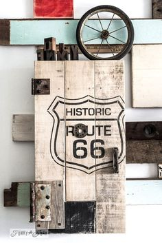 Workshop storage / Historic Route 66 stencil with pallet wood storage cabinet / Funky Junk's Old Sign Stencils collection  / FunkyJunkInteriors.net
