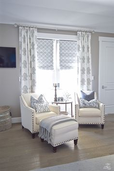 Neutral Transitional Master Bedroom sitting area