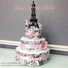 Dedicated diaper cake Watch now Baby Shower Diapers, Baby Shower Cakes, Baby Shower Themes, Baby Shower Gifts, Shower Ideas, Parisian Baby Showers, Paris Baby Shower, Unique Diaper Cakes, Nappy Cakes