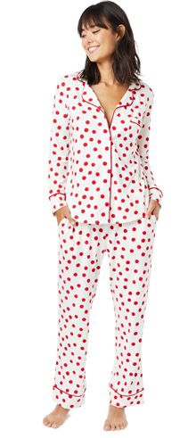 a739f9c402 The Cat s Pajamas Women s Red Sprinkle Dots Cotton Knit Classic Pajama Set   pajamas Cat s Pajamas
