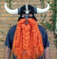 wintermützen herren wikinger oranger bart