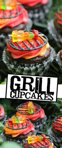 Cupcakes BBQ Grill Cupcakes - These Grill Cupcakes are a whimsical dessert to help you celebrate a summer barbecue party!BBQ Grill Cupcakes - These Grill Cupcakes are a whimsical dessert to help you celebrate a summer barbecue party! Fun Cupcakes, Cupcake Cakes, Birthday Cupcakes, Brownie Cupcakes, Summer Cupcakes, Campfire Cupcakes, Cupcakes Design, Rose Cupcake, Cupcake Wars Party