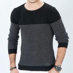 Çift renk örgü triko kazak siyah - füme ürünü, özellikleri ve en uygun fiyatların11.com'da! Çift renk örgü triko kazak siyah - füme, kazak kategorisinde! 472 Mens Winter Sweaters, Knit Baby Sweaters, Men Sweater, Mens Jumpers, Knitwear, Shirt Designs, Men Casual, Mens Fashion, T Shirt