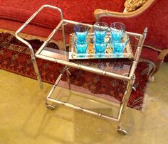 Hollywood Regency Bar Cart Chinoiserie Mid Century Mad Men Silver Brushed Chrome & Glass Bamboo Rolling Metal Tea Cart