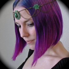 Tatted Circlet Headpiece - Brass Chain and Green Lace $48