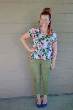 Floral Print T-shirt Blouse and Army Green Skinnies!  Check it out!  Www.ShopLucindaRose.com