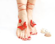 Barefoot sandal Red Butterfly Anklet Genuine by CatsAndSheeps, $25.00