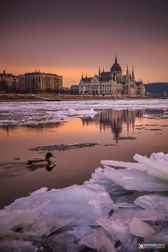 Icebreaking on the Danube  - Budapest Hungary