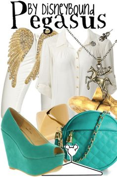 Pegasus by Disney Bound. ~ Hercules Instead of white on white, make the pants the color of the shoes. Or the shirt the color of the shoes and the pants white :) .Don't have high heels , blue roman sandals?