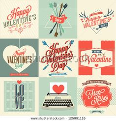 Happy valentines day cards with ornaments, hearts, ribbon, arrow, and typewriter - stock vector