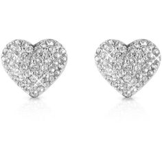 Michael Kors Pave Heart Earrings found on Polyvore