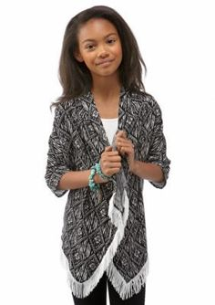 Red Camel  Woven Printed Shally Cardigan 7-16