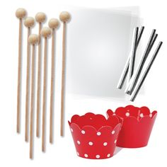 Amazon.com: Cake Pop and Candy Packaging, Wooden Lollipop Sticks, Clear Bags, Red Wrappers, Twist Ties, 96 Pieces: Kitchen & Dining