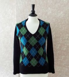 Womens Cashmere Argyle Pullover #Sweater APT 9 #Preppy Black Teal Green Medium M #BTS #fallfashion