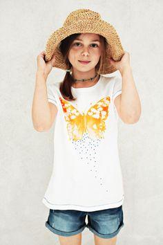 Modisches Girls T-Shirt Design 'Butterfly' mit Glitzersteinen Applikation, Color White